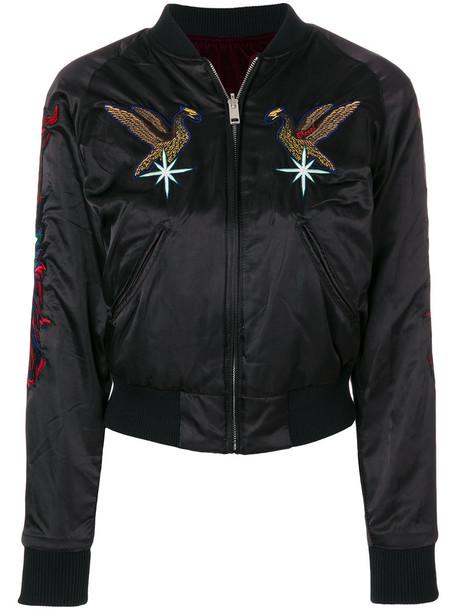 jacket bomber jacket embroidered women black