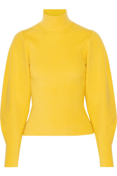 Mugler - Ribbed Wool-blend Turtleneck Sweater - Yellow - Wheretoget