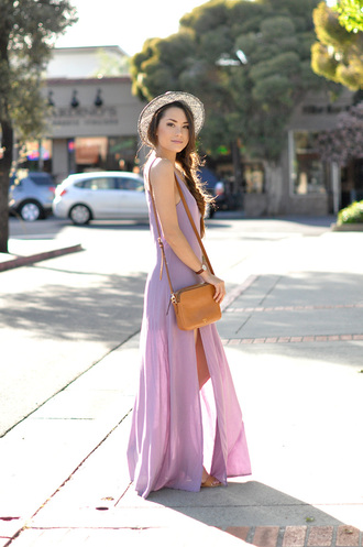 hapa time blogger maxi dress lilac dress slit dress sun hat shoulder bag
