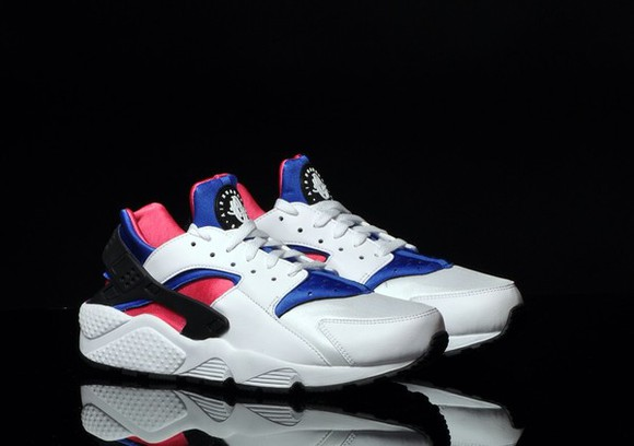shoes pink white black nike air huaraches huarache blue