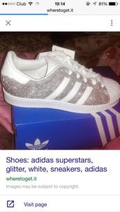shoes,adiddas superstars glitter,adidas superstars glitter,white