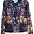 ROMWE | Floral Birds Print Zipper Blue Jacket, The Latest Street Fashion