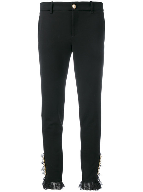gucci women spandex embellished cotton black pants