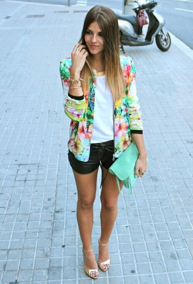 blazer jacket summer outfits floral flowers summer colorful jacket
