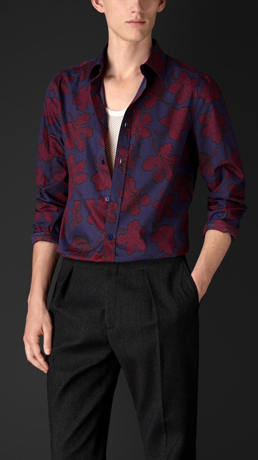 Leaf print cotton silk artist shirt
