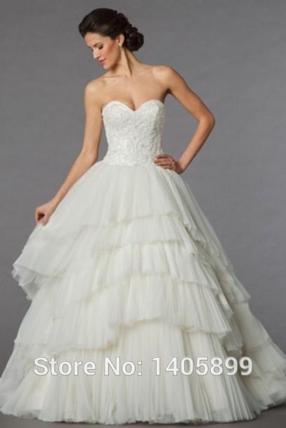 Aliexpress.com: compre vestido vintage pescoço namorada fora do ombro cintura natural em camadas vestido de baile de tule vestidos de casamento 2015 vestido de noiva bonito de confiança vestir