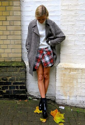 skirt plaid skirt grey coat plaid plaid mini skirt asymmetrical asymmetrical skirt coat oversized boots black boots