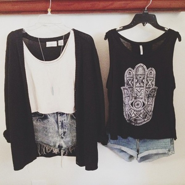 muscle tee white crop tops cool outfit black cardigan hamsa denim shorts