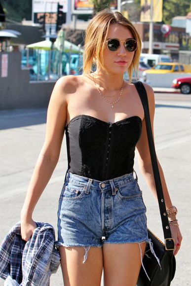 blouse shirt tanktop black shirt miley cyrus jewels