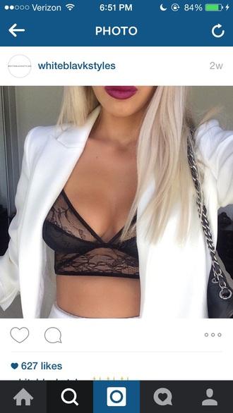 jacket black bra white jacket top