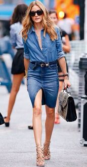 shirt,double denim,denim slit skirt,button down denim shirt,lace up stilettos,leather handbag,denim skirt,denim shirt,black belt,olivia palermo,black sunglasses,lace up heels,beige lace up heels,satchel bag