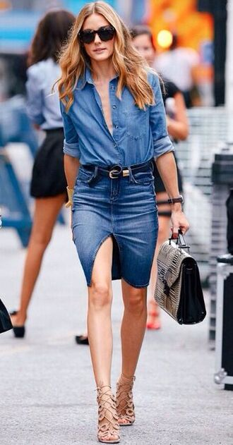 shirt double denim denim slit skirt button down denim shirt lace up stilettos leather handbag denim skirt denim shirt black belt olivia palermo black sunglasses lace up heels beige lace up heels satchel bag