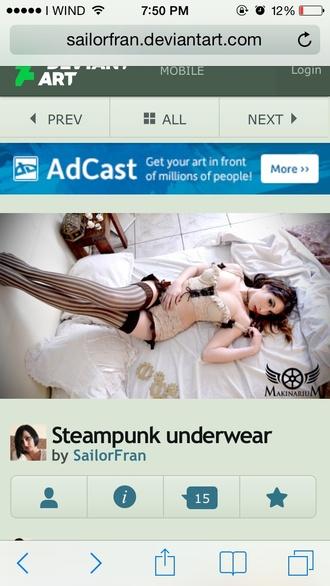 underwear steampunk corset top tights stripes
