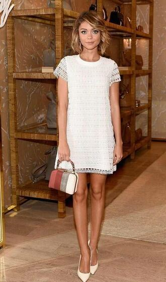 bag dress lace dress white dress sarah hyland pumps purse