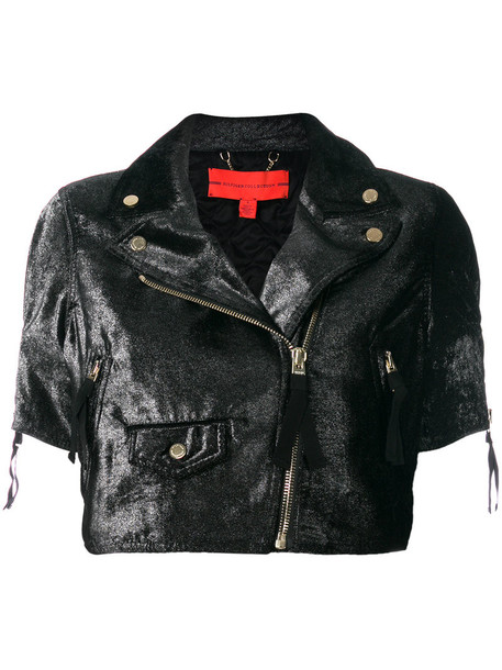 Hilfiger Collection jacket biker jacket cropped women black velvet