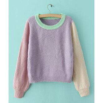 colorblock style comfy pastel pink pastel green cream pastel purple