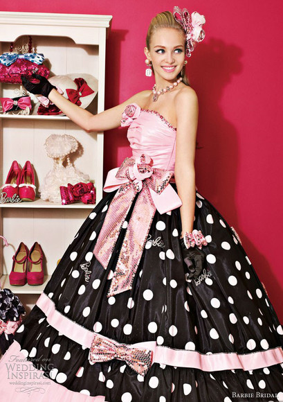 dress dots black ribbons evening dress evening gown pink