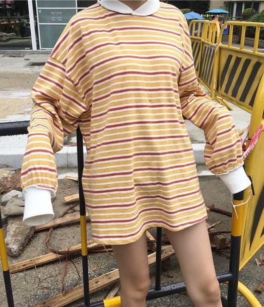 blouse tumblr stripes striped top striped shirt oversized t-shirt dress long sleeves