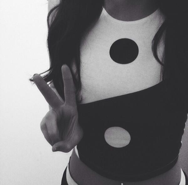 t-shirt white yin yang girl black hair