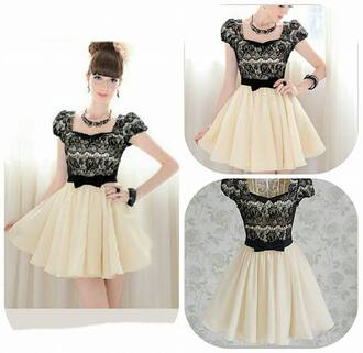 dress cute dress beige dress black white lace shorts