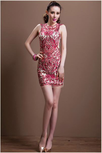 dress dress bqueen fashion girl elegant chic lace sexy party mesh temperament floral summer