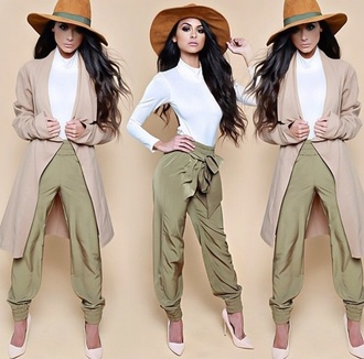 blouse white pants style fashion big hat big hats green white top hat jacket bows bow cream nude nude high heels girly girl long sleeves shoes