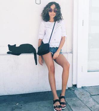 blouse shorts sandals ashley madekwe blogger summer summer outfits denim shorts sunglasses purse shoes
