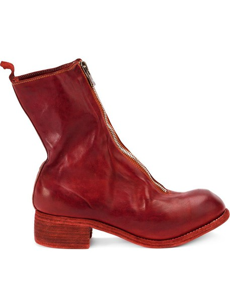 zip horse women boots leather red shoes