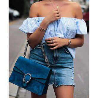 bag tumblr stripes off the shoulder off the shoulder top bracelets blue bag gucci gucci bag dionysus mini skirt blue skirt denim skirt