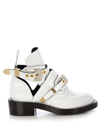 leather ankle boots cut-out boots ankle boots leather white shoes