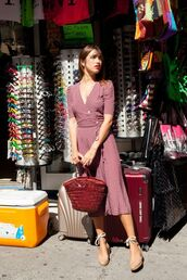 dress,rouje,pink dress,wrap dress,bag,sandals,wedges,wedge sandals,v neck,v neck dress,jeanne damas