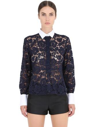 shirt lace shirt lace cotton blue top