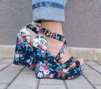 shoes colorful shoes wedges floral floral high heels