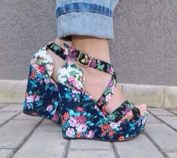 00e6e938b76d shoes colorful shoes wedges floral floral high heels.