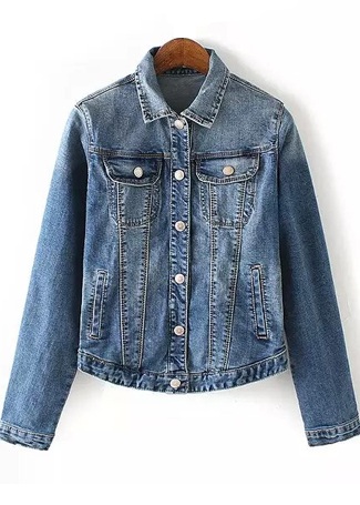 Denim Coat with Pocket Detail|Disheefashion