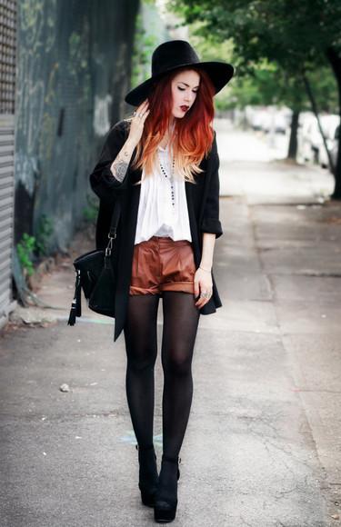 blouse hat le happy blogger jacket peep toe boots