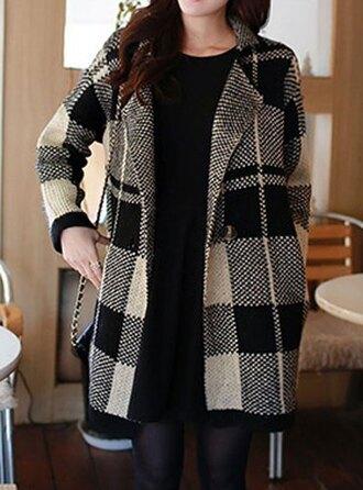 coat checkered black and white long coat cute korean fashion girly beautiful long sleeves jacket