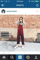 jumpsuit,red,weworewhat,wine,silk,maroon/burgundy,overalls,fashion,style