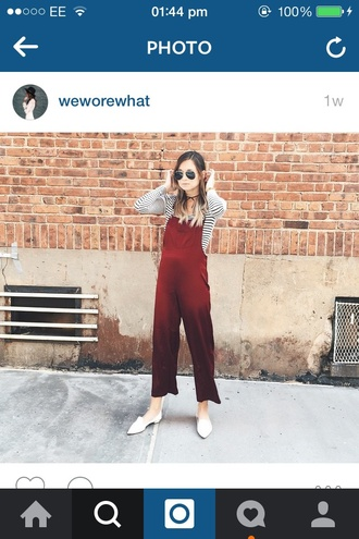 jumpsuit red weworewhat wine silk maroon/burgundy overalls fashion style