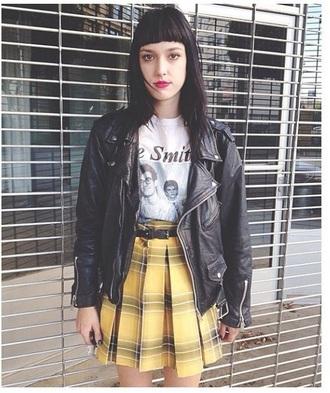skirt yellow plaid yellow yellow plaid skirt pleats pleated pleated skirt
