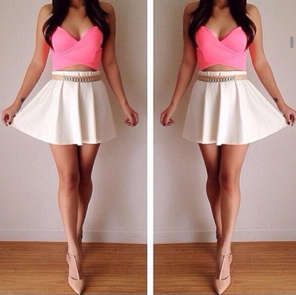 tank top skirt belt shoes top shirt bright high waisted heels dress pink crop top white skirt skater skirt