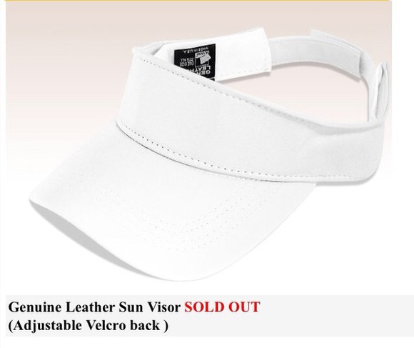 hat visor white leather