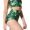 Green maple leaf printed top and waist shorts set - juicy wardrobe