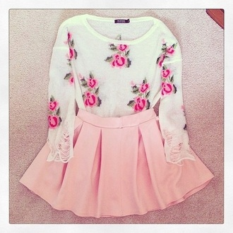 sweater girly roses pink sweater floral top flirting with fashion fashion outfit date outfit valentines day gift idea hipster sweater skirt