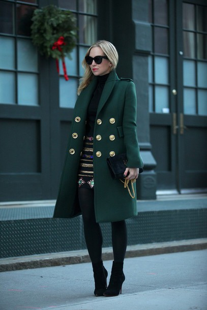 brooklyn blonde blogger skirt sunglasses winter coat forest green winter outfits embroidered green coat coat shoes bag embroidered skirt