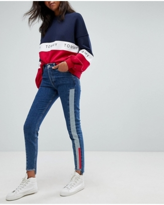 sweater tommy hilfiger tommy jeans jumper sweatshirt blue red white