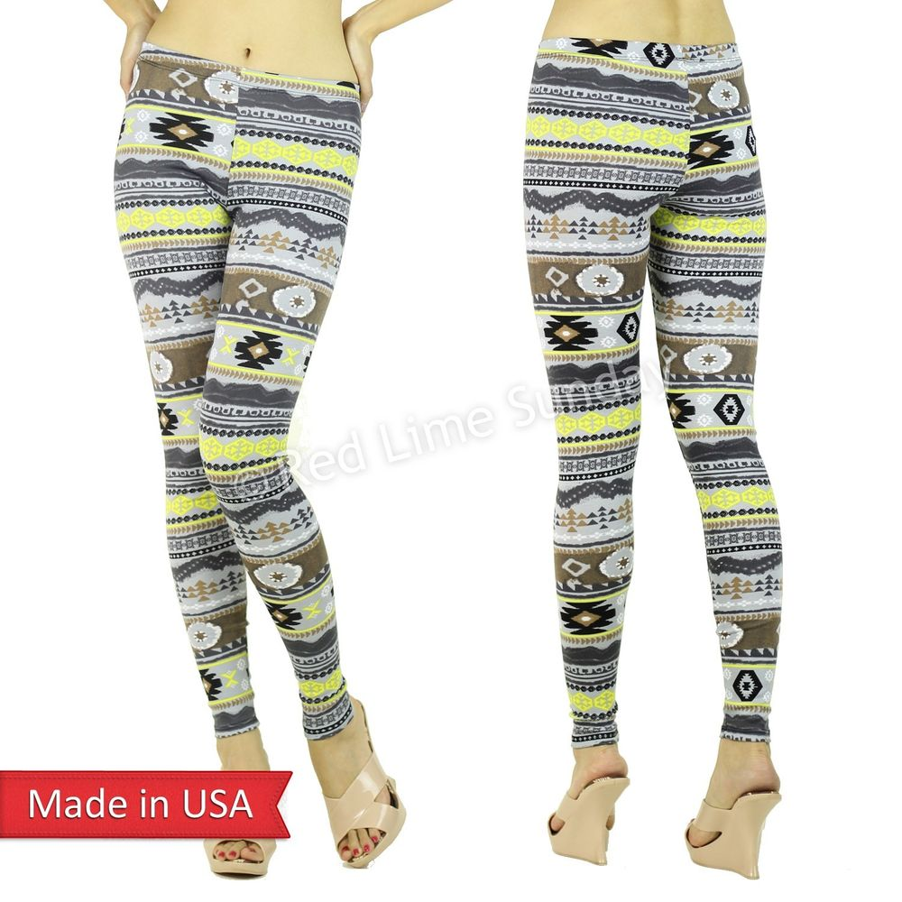 New Winter Nordic Aztec Tribal Gray Yellow Print Stretchy Leggings Tights Pants