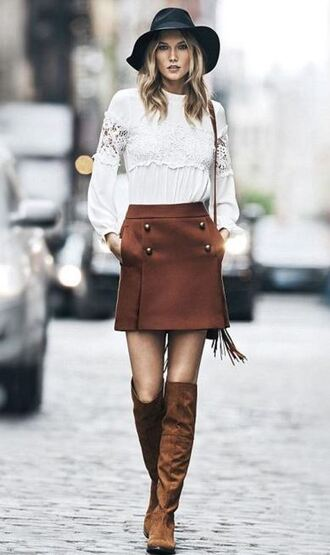 blouse skirt suede boots suede boots karlie kloss fall outfits hat purse fringed bag fringes shoes bag