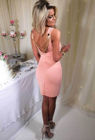 dress pink boutique gold chain open back peach dress pinkb special occasion dress