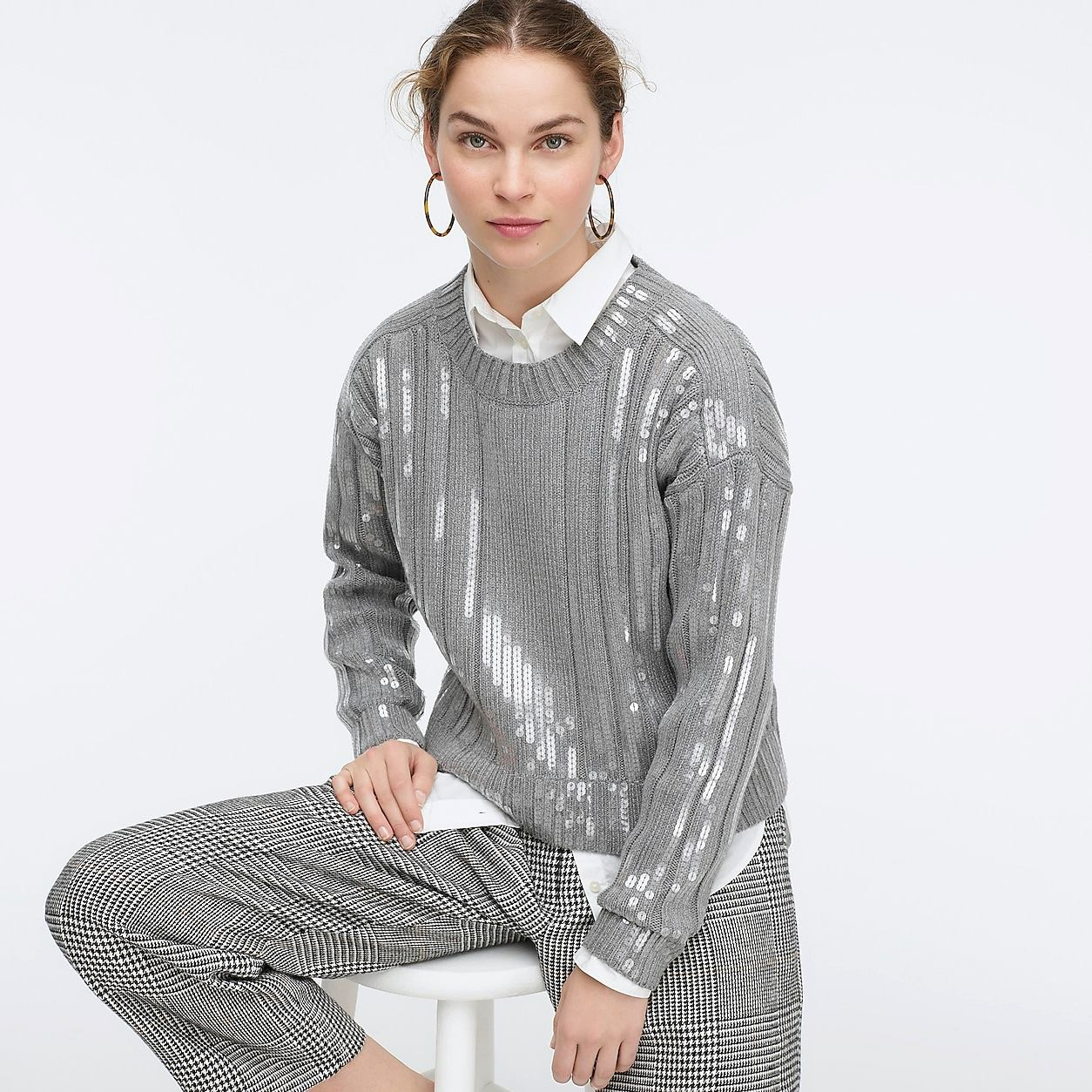 Collection Sequin-Striped Ribbed Crewneck Sweater